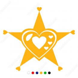 Sevgililer Günü Yıldızlı Kalp 110x110cm Sticker Yapıştırma