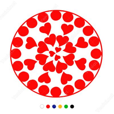 Sevgililer Günü Yuvarlağın Kalp 110x110cm Sticker Yapıştırma