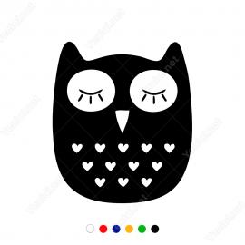 Sevimli Kalpli Yavru Baykuş Stickerı Yapıştırması
