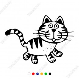 Sevimli Şekilde Bakan Bıyıklı Küçük Kedicik Sticker