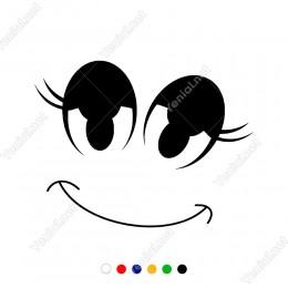 Sevimli Şekilde Duran Ağız Göz Kaş Sticker