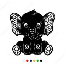 Sevimli Yavru Fil Stickerı Yapıştırması