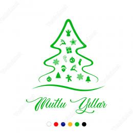 Sevimli Yılbaşı Süslemeleri Çam Ağacı Stickerı