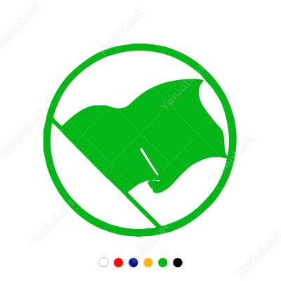 Silindir İçinde Dalgalı Korsan Bayrağı Sticker Yapıştırma