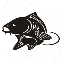 Siyah Beyaz Balık Stickeri