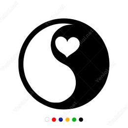 Siyah Beyaz Denge Kalp Sticker Yapıştırma