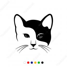Siyah Beyaz Denge Kedi Sticker Yapıştırma