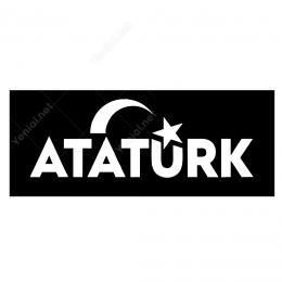 Siyah Zeminli Ay Yıldızlı Atatürk Yazısı Sticker