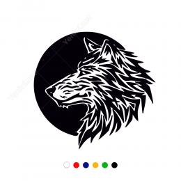 Siyah Zeminli Kurt Stickeri Çıkartması