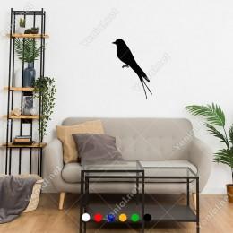 Sola Doğru Bakan Çift Kuruklu Kuş Sticker