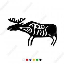 Sola Doğru Bakan Kemikleri Görünen Geyik Sticker