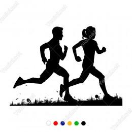 Spor Yapan Dağda Koşan Kadın Erkek Sticker