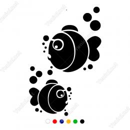 Su Altında Baloncuklu Sevimli Balıklar Sticker Yapıştırma