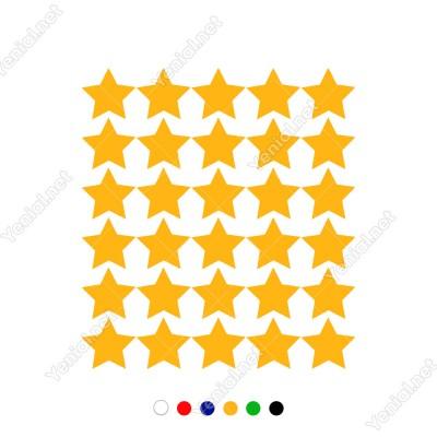 Toplu Halde Oluşturulmuş Yıldız Zemin 30 Adet Sticker