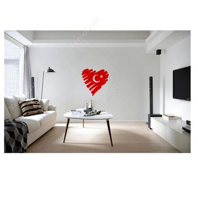 Türk Bayrağı Kalp Araç - Motosiklet Sticker Çıkartma