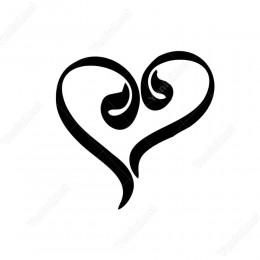 Vav Harfi Ve Kalp Sticker Etiket Yapıştırma