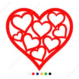 Vitrin Süslemeleri Büyük Kalp İçinde Küçük Kalpler Stickerı