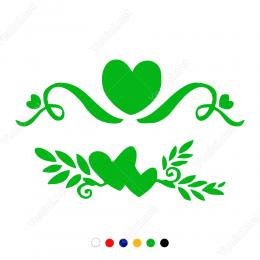 Vitrin Süslemeleri Yapraklı Kalp Stickerı