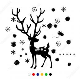Yeni Yıl Süslemesi Geyik Sticker Çıkartma
