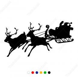 Yeni Yıl Süslemesi Noel Baba Ve Geyikleri Sticker Çıkartma