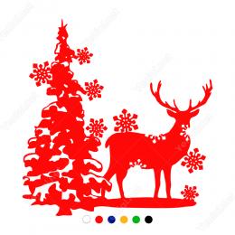 Yılbaşı Ağacı Geyik Kar Taneleri  Sticker Yapıştırma 140x130cm