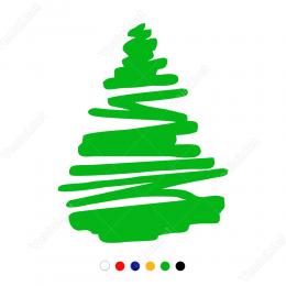 Yılbaşı Ağacı Sticker Çıkartma Süslemesi