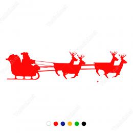 Yılbaşı Noel Baba Ve Geyikleri Sticker Çıkartma