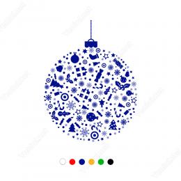 Yılbaşı Süslemeleri Desenli Asılmış Halde Yılbaşı Balon Sticker 150x115 cm