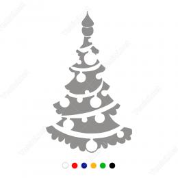 Yılbaşı Süslemeleri Çam Ağacı Cam Vitrin Stickeri