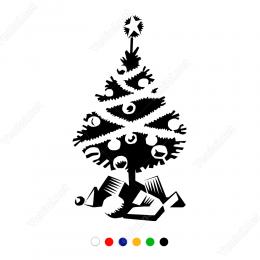Yılbaşı Süslemeleri Çam Ağacı Ve Hediye Stickerı