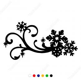 Yılbaşı  Süslemeleri Dallı Kar Taneleri Sticker