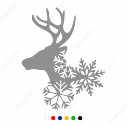 Yılbaşı Süslemeleri Geyik Ve Kartanesi Süslemesi Vitrin Stickeri