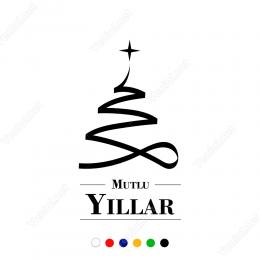 Yılbaşı Süslemeleri Kurdele Şeklinde Desenli Mutlu Yıllar Sticker 150x85 cm