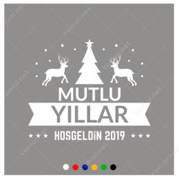 Yılbaşı Süslemeleri  Mutlu Yıllar Geyikli Ağaçlı Sticker