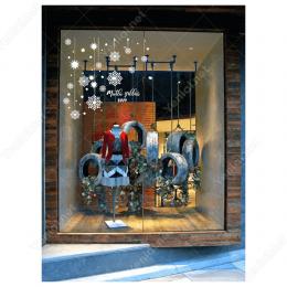 Yılbaşı Süslemeleri Mutlu Yıllar Kar Taneleri Vitrin Çıkartması 100X150 cm