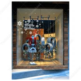 Yılbaşı Süslemeleri Mutlu Yıllar Kar Taneleri Vitrin Cam Vitrin Düzenlemesi  100X150 cm