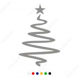 Yılbaşı Süslemeleri S Görünüm Ağacı Sticker Çıkartma