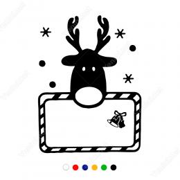 Yılbaşı Süslemeleri Sevimli Geyik Yavrusu Sticker Çıkartma