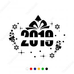 Yılbaşı Süslemeleri Yıldızlı Kartaneli 2019 Çıkartma