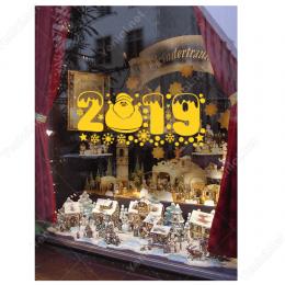 Yılbaşı Süslemeleri Yıldızlı Kartaneli Sevimli 2019 Yazısı Vitrin Çıkartması