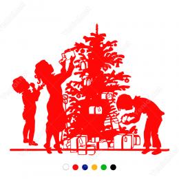 Yılbaşı Süslemesi Çocuklar ve Yılbaşı Ağacı Sticker Yapıştırma 140x120cm