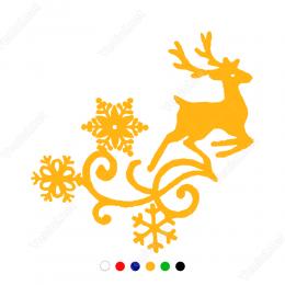 Yılbaşı Süslemesi Geyik Kar Tanesi Desenli Sticker Yapıştırma