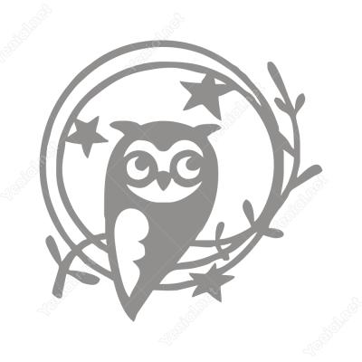 Yıldız ve Çiçeğin İçinde Baykuş Sticker Yapıştırma