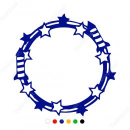 Yıldızlı Fişekli Çember Sticker
