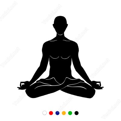 Yoga Yapan Erkek Figürü Sticker Yapıştırma