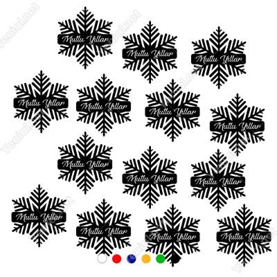 14 Adet Kar Tanesi ve Mutlu Yıllar Yazısı Yılbaşı Süslemeleri 50x50cm