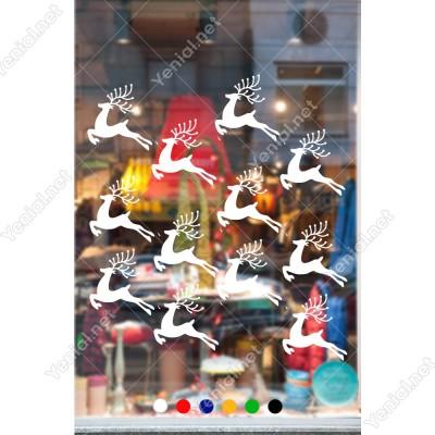 16 Adet Boynuzlu Sevimli Ren Geyiği Yılbaşı Süslemeleri 108x110cm