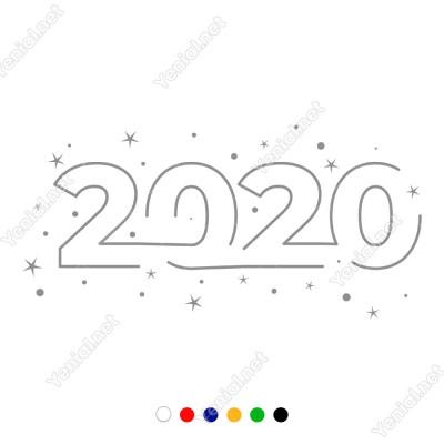 2020 Yılı Yazısı ve Yıldız Kar Tanesi Yılbaşı Süslemesi 115x55cm