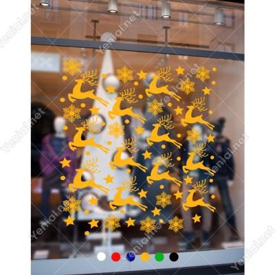 8 Adet Geyik 12 Adet Kar Tanesi ve Yıldızlar Yılbaşı Süslemeleri 95x57cm
