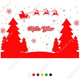 Çamlar Arasında Gezinen Noel Baba 115x75cm